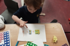 Counting using Numicon and play dough